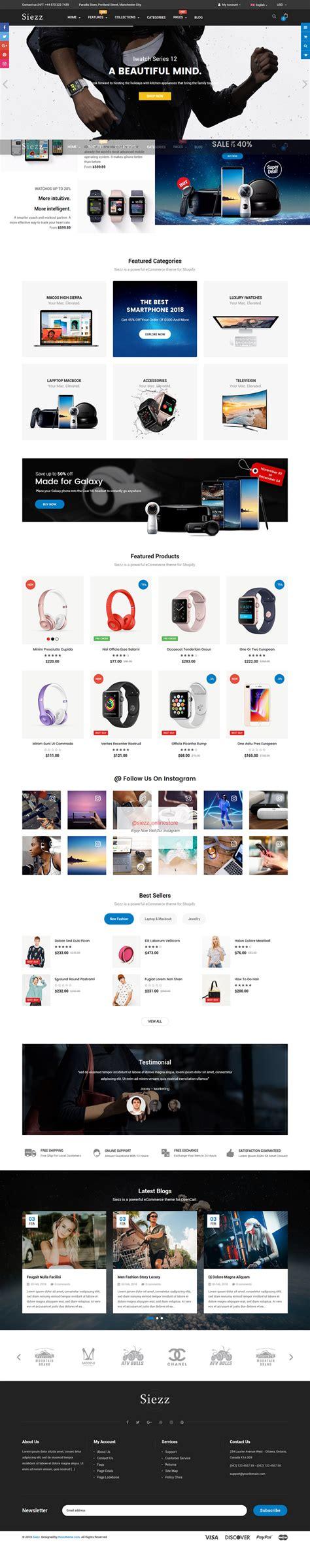 shopify advanced themes siezz advanced drag drop responsive shopify theme by
