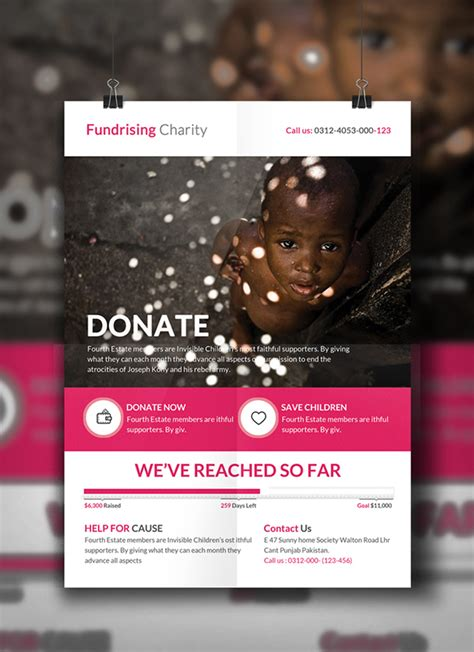 charity donation flyer template on behance