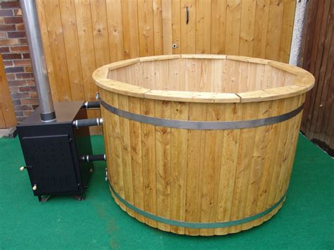 wood hot tub wood burning hot tub 1 7 meter siberian larch external furnace wooden hot tubs and