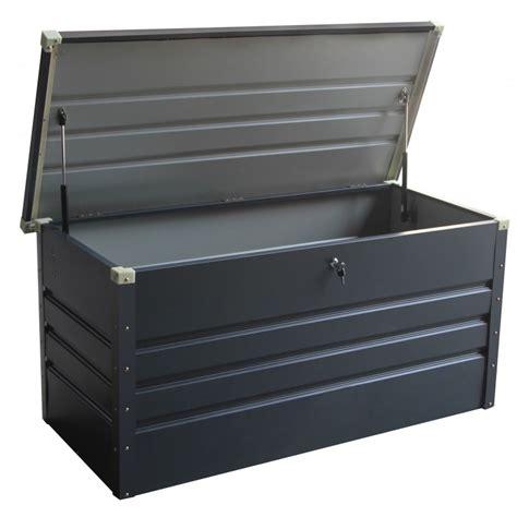 coffre de jardin metal coffre de rangement en m 233 tal anthracite 430l avec plancher x metal