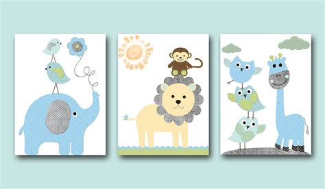 Baby Boy Nursery Wall Decor Kids Wall Art Kids Art Giraffe Nursery Wall Decor For Boys