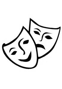Theater Mask Outline by Theater Mask Vector Free Clipart Best
