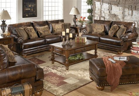 livingroom furniture sets traditional brown bonded leather sofa loveseat living room set pillows nailheads