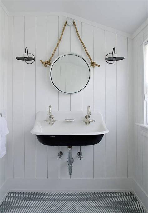 white mirror for bathroom black and white cottage bathroom with rope mirror