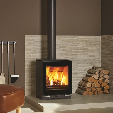 Contemporary Wood Burning Stoves Stovax Riva Vision Midi Contemporary Woodburning Stove Black