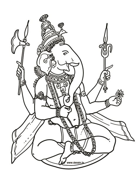 coloring pages hindu gods ganesha drawings all about