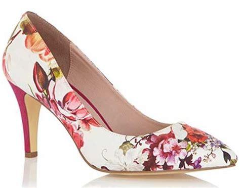 pink flower shoes oasis floral print mid heel court shoes floral print