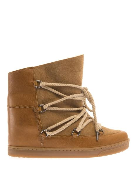 wedge snow boots marant nowles leather wedge snow boots in brown lyst