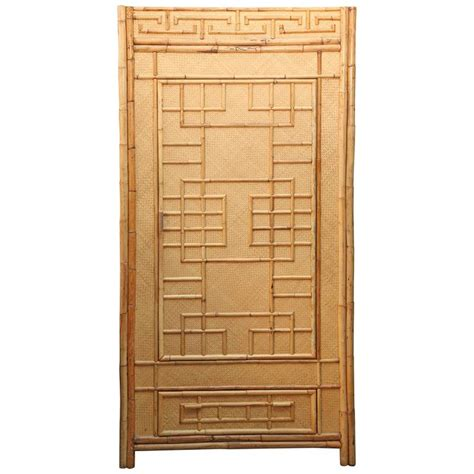 wicker armoire mid century quot south seas quot rattan armoire for sale at 1stdibs