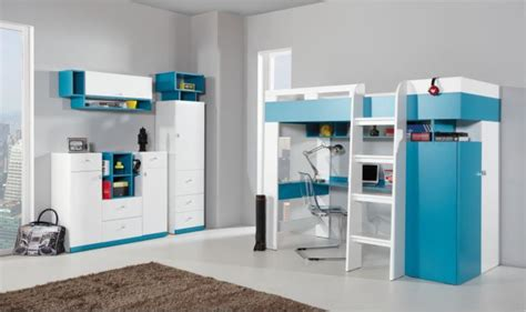 lit et bureau enfant combin lit enfant bleu et blanc avec bureau armoire et