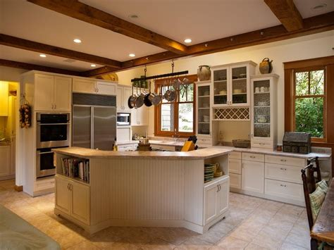 stained windows with white trim white kitchen with wood
