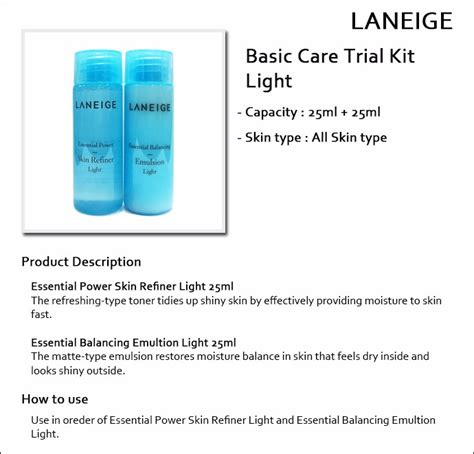 Laneige Basic Care Light Trial Kit laneige sle basic care trial kit light 2 items