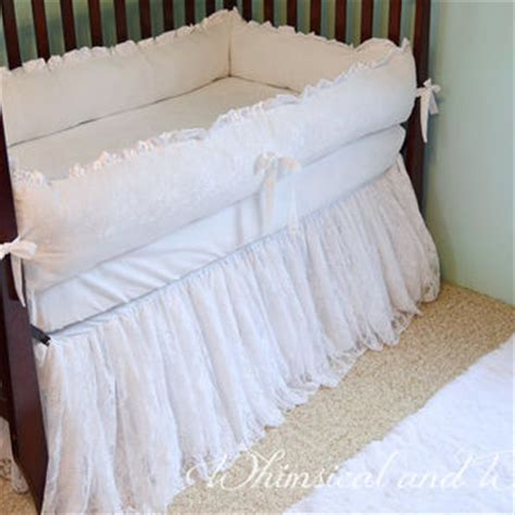 Ruffled Crib Bedding White Lace Baby Crib Bedding White From Whimsicalandwitty On