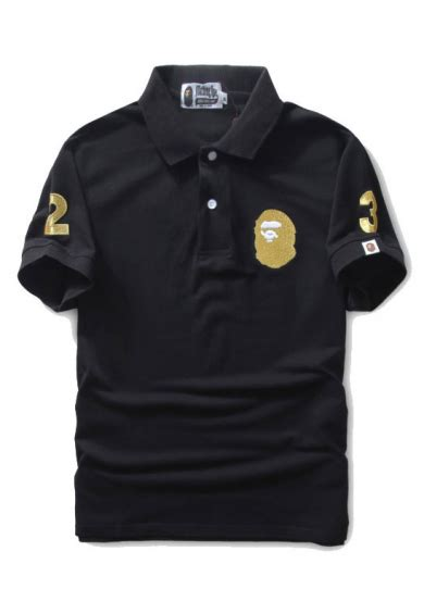 Bape Kaos Tshirt A Bathing Ape 23 a bathing ape gold 23 polo shirt black
