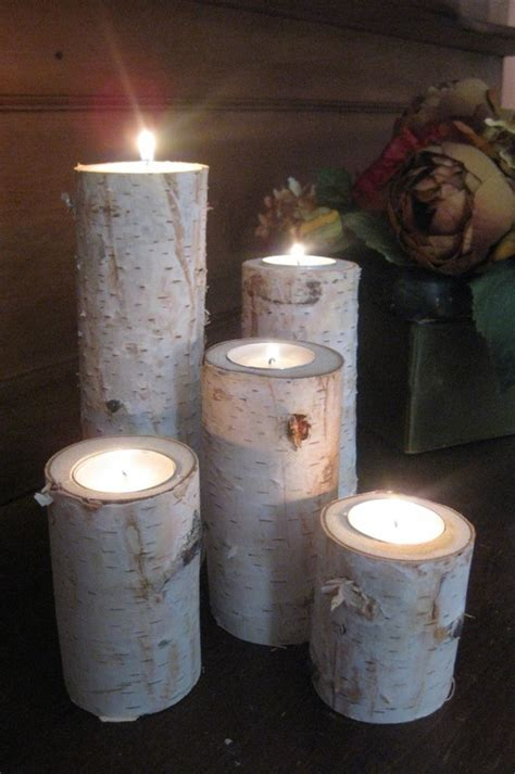 home decor birch wood candle holders wedding decor birch log candle holders home decorating diy