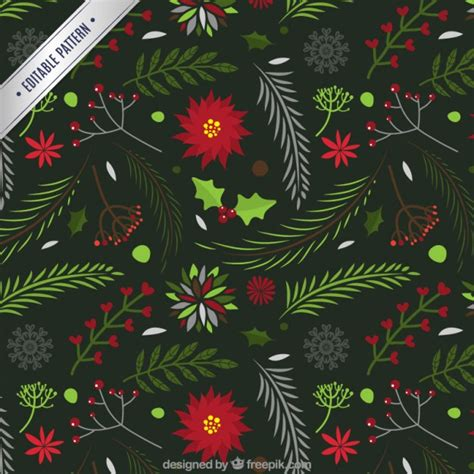 christmas patterns year 1 floral christmas pattern vector premium download