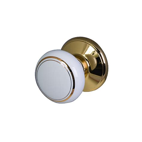 sylvan ceramic door knob classic white gold bunnings