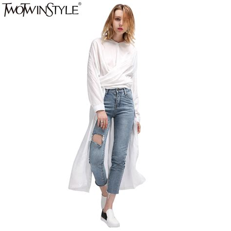 21384 White Casual Top twotwinstyle casual midi summer dress s shirt dresses top sleeve blouse white