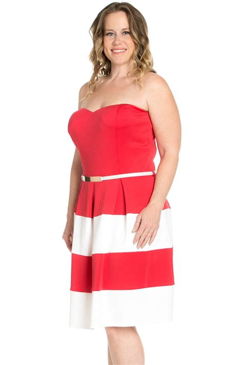 sweetheart color block in coral dress with belt my