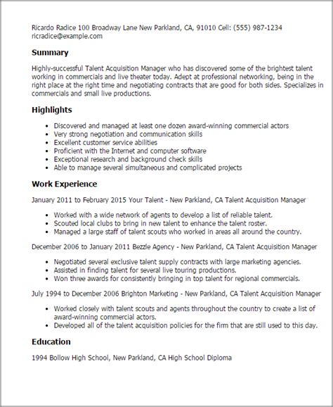 Talent Resume Template by 1 Talent Acquisition Manager Resume Templates Try Them