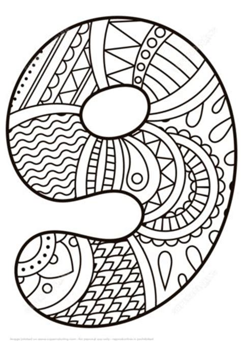 number  zentangle coloring page  zentangle numbers