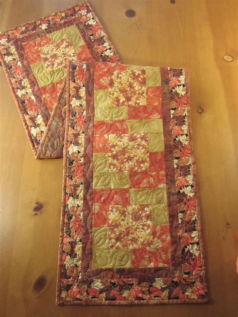 Quilted Table Runners For Sale by Fall Quilted Table Runner With Leaves By Patchworkmountain
