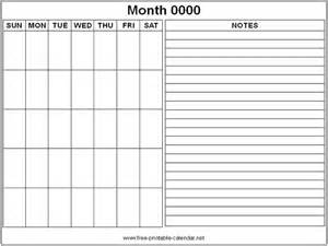 Calendar Template With Notes by Free Printable Monthly Calendars Search Helpful