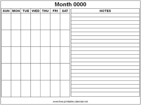 calendar template with notes free printable monthly calendars search helpful