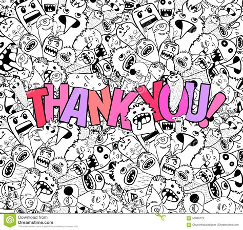 doodle you thank you doodle background stock vector image
