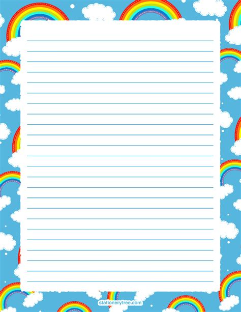 printable rainbow stationery http stationerytree com download rainbow stationery