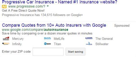 Mortgage & Auto Insurance Comparisons in Google Search Results