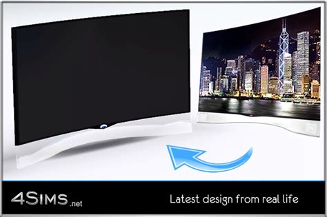 Glass Curved OLED TV for Sims 3 4Sims