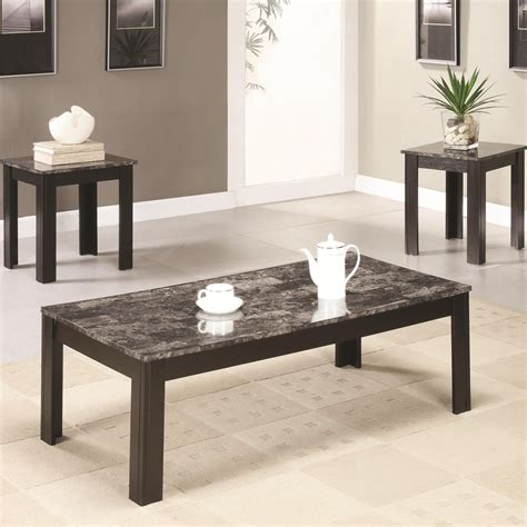 coaster 700375 black marble coffee table set a