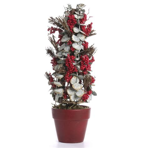 potted artificial eucalyptus and twig christmas tree