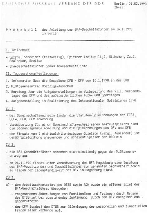 Protokoll Schreiben Muster Chemie Leipziger Fu 223 Ballverband 1990 1999