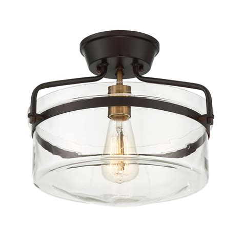 semi flush drum light 251 first afton rubbed bronze and brass one light drum