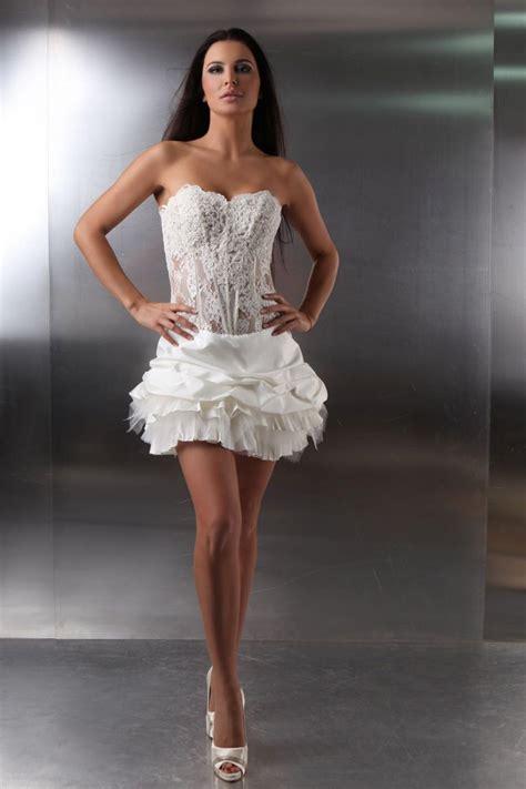 Brautkleider Vorne Mini Hinten Lang by Kurzes Brautkleid Extravagant Transparente Korsage