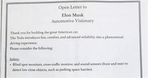 elon musk letter tesla model s owners post open letter to elon musk in