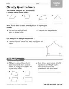 types of quadrilaterals worksheet 4th grade geometry on