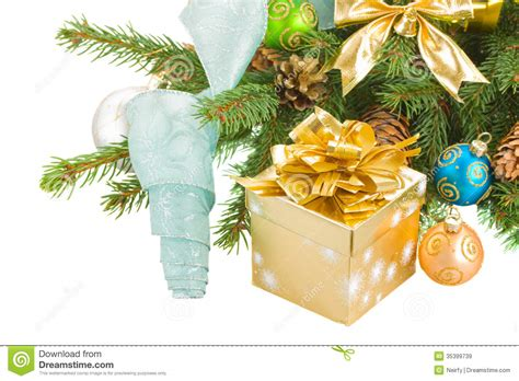 christmas tree decorations gift boxes tree and decorations with gift box royalty free stock images image 35399739