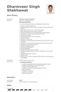 Desktop Engineer Cover Letter by Desktop Support Resume Resume Format Pdf