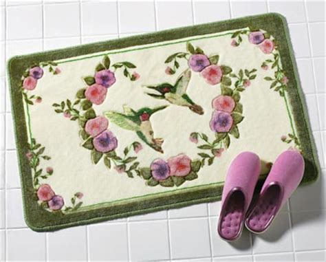 hummingbird floral bath accent rug  collections