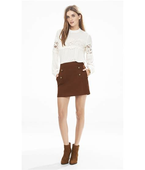 lyst express high waisted a line sailor mini skirt in brown