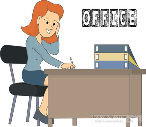 bureau clipart office clipart office worker sitting at desk clipart 215