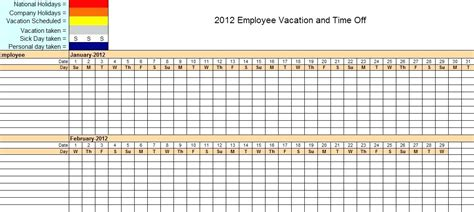 Yearly Vacation Calendar Template by Attendance Sheet Excel Fatfreezing Club