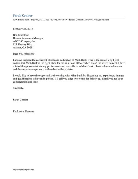 Letter For Loan Office Loan Officer Cover Letter Template Free Microsoft Word Templates