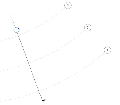 section cut line showing curved column grid in section view learning revit