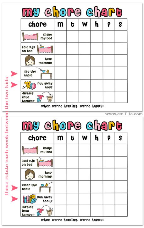 chore charts for 6 year olds yahoo image search results a year of fhe our family follow up