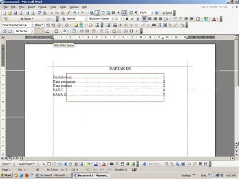 cara membuat daftar isi agar titik titiknya sejajar miftahul kholifah indent tabulasi