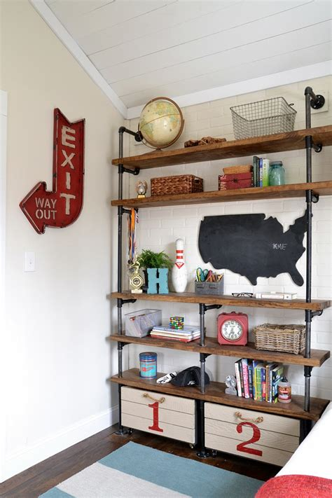 industrial shelves for a boy s room ikea decora